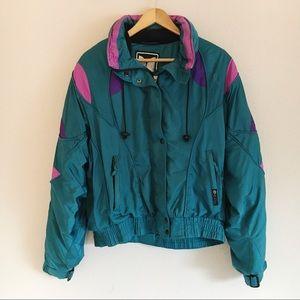 Vintage 80s Couloir Teal Green Nylon Ski Jacket